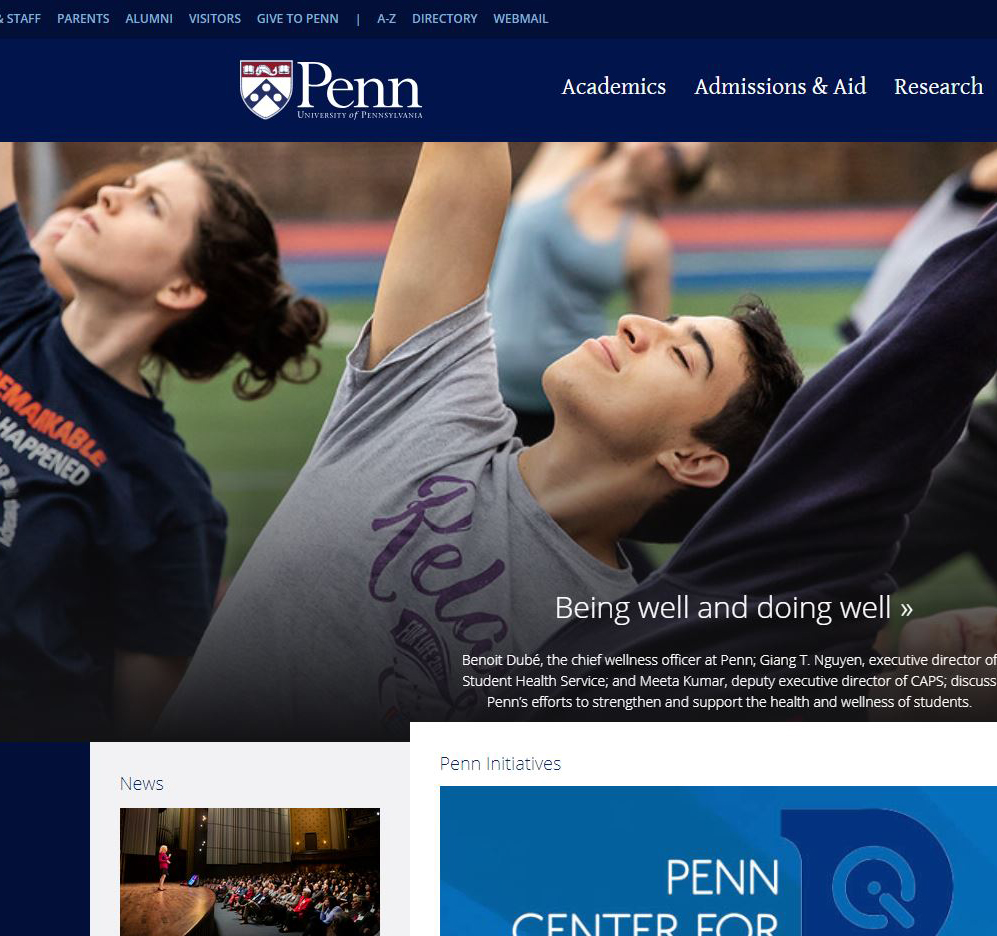 Penn website homepage
