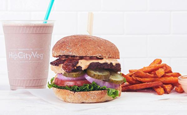 A delicious vegan burger milkshake and fries made by HipCityVeg.