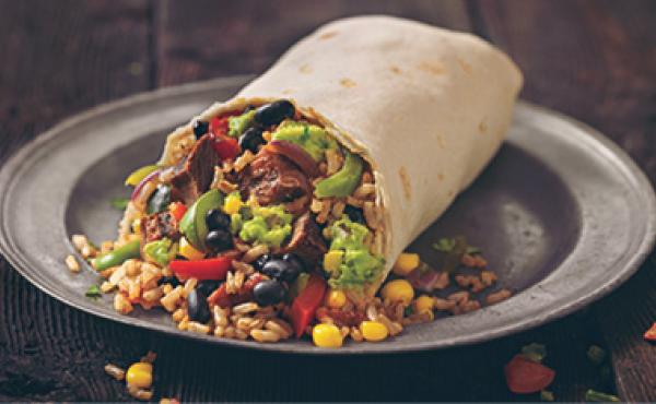 A delicious burrito from Qdoba Mexican grill.