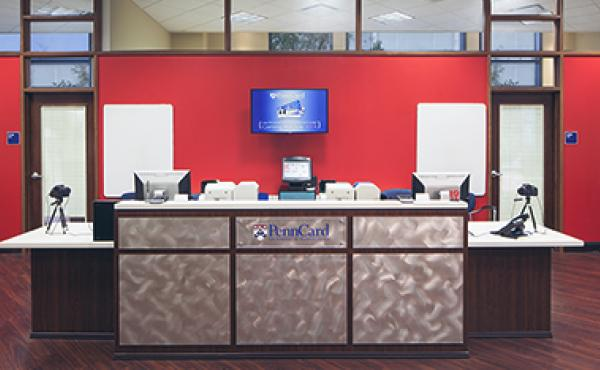 The receptionists desk at the PennCard Center.