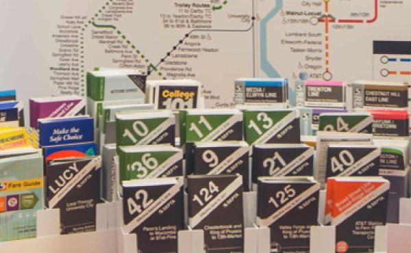 Septa maps on display inside the SEPTA Travel Center@Penn.