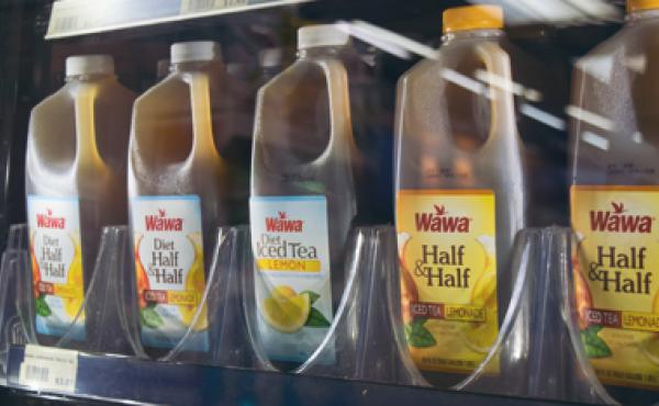 Cold beverages on display at Wawa.