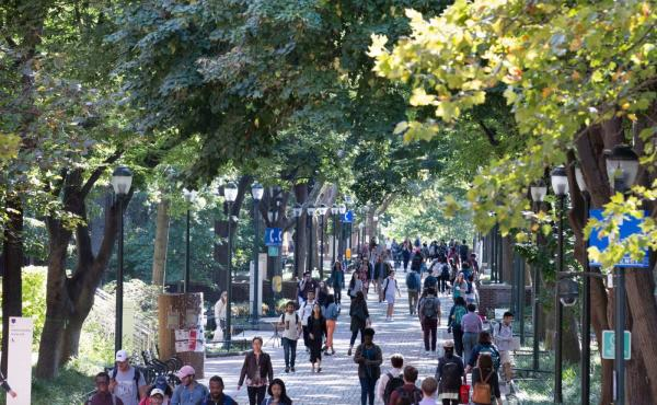view of students walking on penn's campus