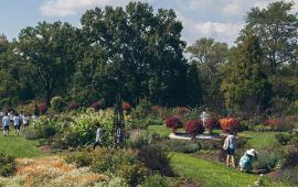 People enjoying the gardens at Morris Arboretum.