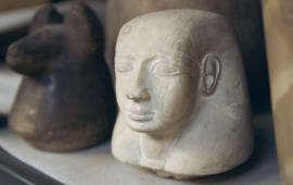 Archaeological artifacts on display at the Penn Museum of Archaeology and Anthropology.