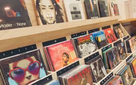 Records inside Urban Outfitters.