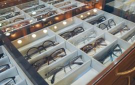 Glasses on display inside Eye Encounters.