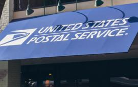 The U.S. Post Office storefront awning.